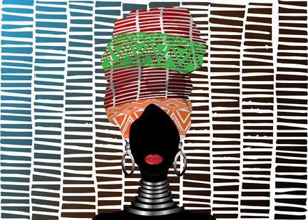 African scarf, portrait Afro woman in a striped turban. Tribal Wrap fashion, Ankara, Kente, kitenge, African women dresses. Nigerian style, Ghanaian headwrap. Vector for Print, poster, t-shirt, card Illustration