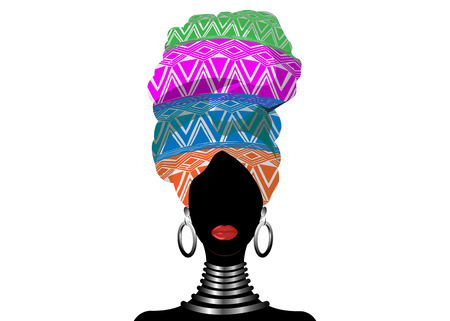 African scarf, portrait Afro woman in a geometric turban. Tribal Wrap fashion, Ankara, Kente, kitenge, African women dresses. Nigerian style, Ghanaian headwrap. Vector for Print, poster, t-shirt, card Иллюстрация