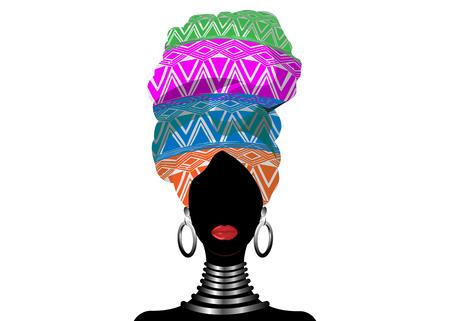 African scarf, portrait Afro woman in a geometric turban. Tribal Wrap fashion, Ankara, Kente, kitenge, African women dresses. Nigerian style, Ghanaian headwrap. Vector for Print, poster, t-shirt, card Illustration