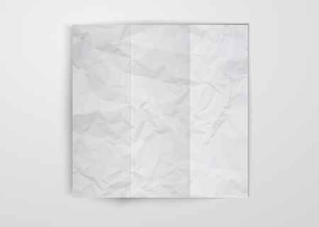 Three times white crumpled paper sheet placed on white background. Texture of crumpled paper square card template design vector isolated with shadow