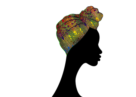 portrait beautiful Afro woman. Shenbolen Ankara Headwrap Women African Traditional Headtie Scarf Turban. Colorful Kente head scarf African fabric design. Vector icon logo isolated white background Vettoriali