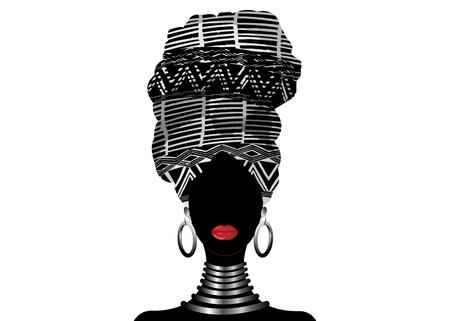 African scarf, portrait Afro women in a striped turban. Tribal Wrap fashion, Ankara, Kente, kitenge, African woman dresses. Nigerian style, Ghanaian headwrap. Vector for Print, poster, t-shirt