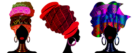 Set African scarf, portrait Afro women in a striped turban. Tribal Wrap fashion, Ankara, Kente, kitenge, African woman dresses. Nigerian style, Ghanaian headwrap. Vector for Print, poster, t-shirt
