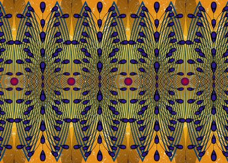 Tela estampada africana, Adornos étnicos hechos a mano para su diseño, Elementos geométricos con motivos étnicos y tribales. Textura transparente de vector, estilo de moda afro textil Ankara. Vestido cruzado pareo, alfombra batik
