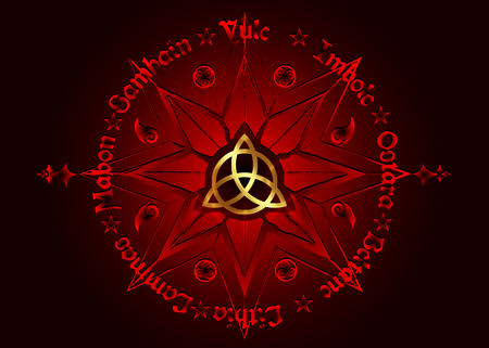 Book Of Shadows Wheel Of The Year Modern Wiccan Paganism. Wiccan calendar and holidays. Red Compass with in the middle gold Triquetra symbol from charmed celtic. Vector isolated on black background Illustration