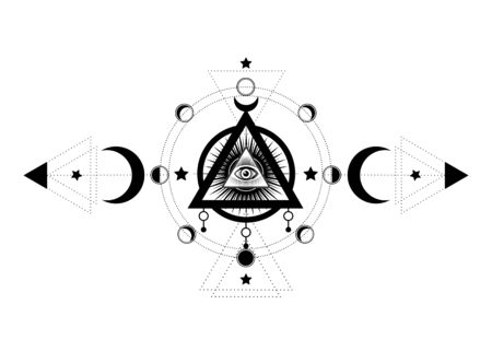 Eye of Providence. Masonic symbol. All seeing eye inside triple moon pagan Wicca moon goddess symbol. Vector illustration. Tattoo, astrology, alchemy, boho and magic symbol. Circle of a moon phase Illusztráció