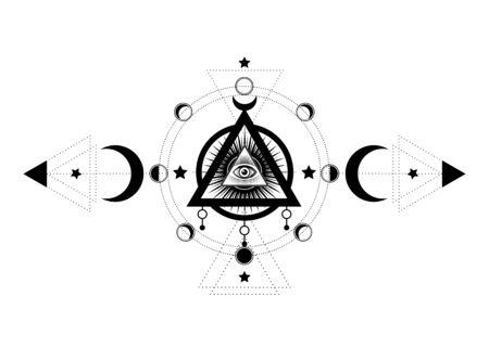 Eyeil de la Providence. Symbole maçonnique. Tous les yeux voyants à l'intérieur du symbole païen de la déesse de la lune Wicca triple lune. Illustration vectorielle. Tatouage, astrologie, alchimie, boho et symbole magique. Cercle d'une phase de lune Vecteurs