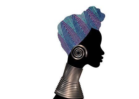 portrait beautiful woman. Shenbolen Ankara Headwrap Women African Traditional Head tie Scarf Turban. Colorful Kente head wraps African fabric design with ethnic jewels Vector icon  isolated