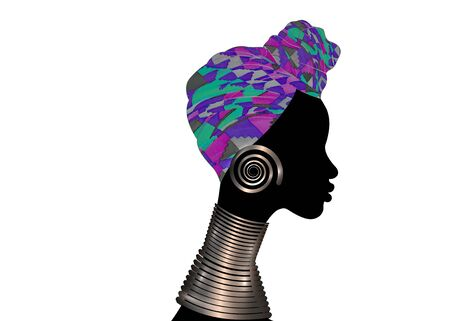 portrait beautiful woman. Shenbolen Ankara Headwrap Women African Traditional Headtie Scarf Turban. Colorful Kente head wraps African fabric design with ethnic jewels Vector icon   isolated