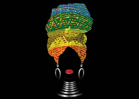 African scarf, portrait Afro woman in a geometric turban. Tribal Wrap fashion, Ankara, Kente, kitenge, African women dresses. Nigerian style, Ghanaian headwrap. Vector for Print, poster, t-shirt, card  イラスト・ベクター素材