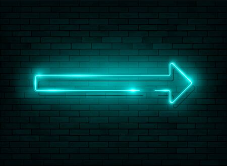 Neon arrow. Blue Neon sign with a Brick Wall Background, icon, banner with flash light, vector illustration Illustration