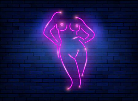 Neon sign striptease. Pink neon silhouette of naked woman body isolated on dark blue wall background