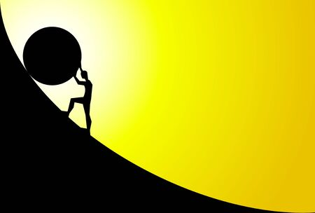 man pushing big boulder uphill with yellow sky and sun. Concept of fatigue, effort, courage. Vector cartoon black silhouette in flat design isolated on yellow background Illustration