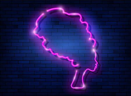 Afro retro girl neon sign. African woman in traditional turban, glowing pink neon female with retro hair style isolated on brick wall background. Vector for topics like night club, dance studio, disco Illustration