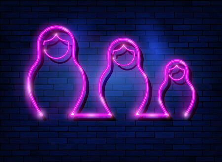 Neon sign Russian nesting dolls matryoshka, lighted set sign icon symbol of Russia. Pink neon set Matryoshka fashion style, vector isolated on dark blue brick wall background