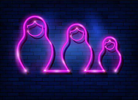 Neon sign Russian nesting dolls matryoshka, lighted set sign icon symbol of Russia. Pink neon set Matryoshka fashion style, vector isolated on dark blue brick wall background Illustration