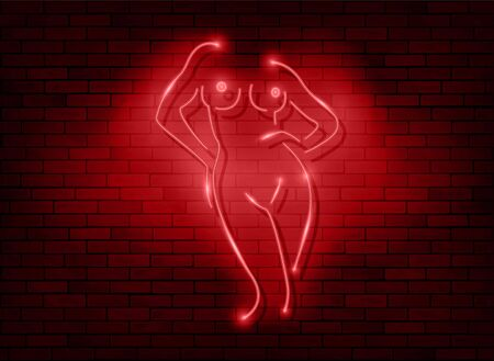Neon sign striptease. Neon silhouette of naked woman body isolated on dark red brick wall background. Red led light style element for night party