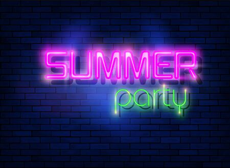 Neon night party, tropical party design and neon letters. Fashion colorful led light sign isolated on dark blue brick wall background