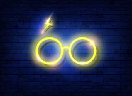 neon sign icon of round glasses, minimal style, Led light logo icon for oculist shop cartoon style, vector isolated on dark blue brick wall background Illustration