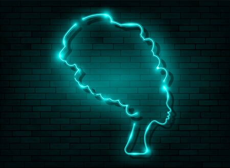 Afro retro girl neon sign. African woman in traditional turban, glowing blue neon female with retro hair style isolated on brick wall background. Vector for topics like night club, dance studio, disco Illustration