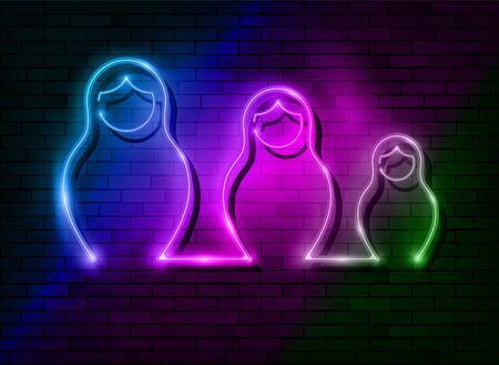 Neon sign Russian nesting dolls Matryoshka, lighted set sign icon symbol of Russia. Colorful led light set Matryoshka fashion style, vector isolated on dark colorful brick wall background