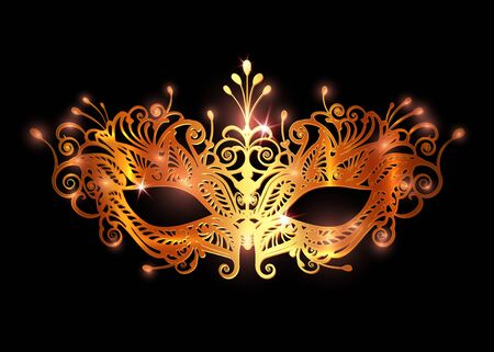 Carnival mask icon gold silhouette isolated on black background. laser cut mask with Venetian embroidery floral decoration. Golden shiny luxury Vector illustration design Illustration
