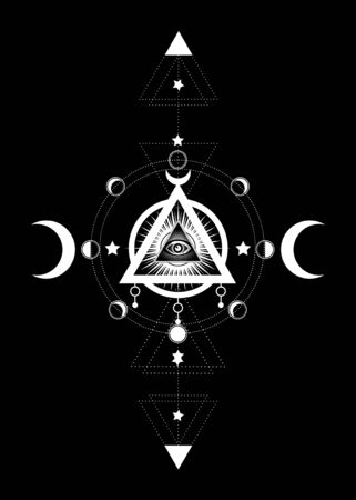 Eye of Providence. Masonic symbol. All seeing eye inside triple moon pagan Wicca moon goddess symbol. Vector illustration. Tattoo, astrology, alchemy, boho and magic symbol. Circle of a moon phase Illustration