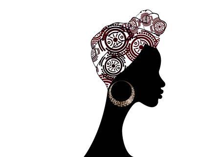 portrait beautiful Afro woman. Shenbolen Ankara Headwrap Women African Traditional Headtie Scarf Turban.
