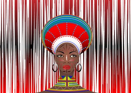 African Tribe Female Clothes Zulu Aboriginal portrait of cute south African woman of Bantu nation. Typical Afro Headdress with ethnic earrings and necklace. Vector isolated Geometric Random Streaks