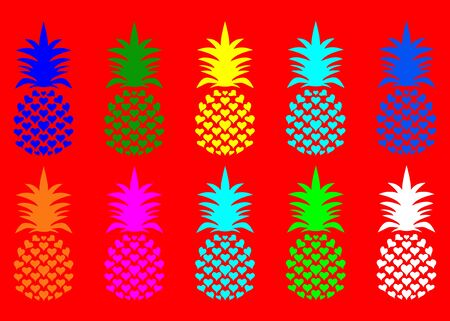 Summer pineapple fruit with vivid fashion colors. Cute tropical pattern, vector texture background. Colorful heart shape design, flat concept, pop art style, isolated on red background