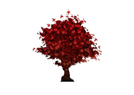 vector red maple tree icon isolated on white background. Illusztráció