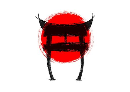 japanese gate, torii, imitation of red japanese flag, rising sun as background. Shninto symbol. Handdrawn by ink. Isolated on white background. Symbol of Japan. Design for travel poster, banner
