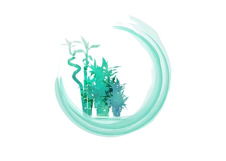 Vector isolated watercolor hand drawn illustration of green organic bamboo plant. Horizontal background with copy space