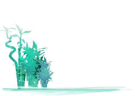 Vector isolated watercolor hand drawn illustration of green organic bamboo plant. green round label background with copy space