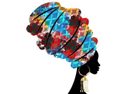 portret pięknej afrykańskiej kobiety w tradycyjnym turbanie, owinięcie głowy Kente Afryki, tradycyjne drukowanie dashiki, sylwetka wektor czarnych kobiet na białym tle z tradycyjnymi złotymi kolczykami, koncepcja fryzury