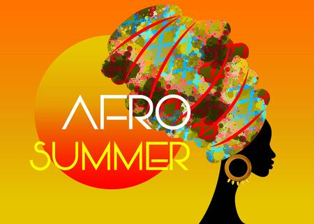 Afro Summer Party, Black African woman head with colorful turban, vector isolated on sunset background