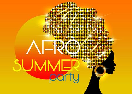 Afro Summer Party, Black African woman head with traditional ethnic shiny golden turban, vector isolated on sunset background. Hairstyle concept, cover for black music, disco, beauty events, jazz band