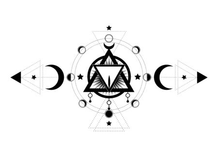Masonic symbol. The Sacred inside triple moon pagan Wicca moon goddess icon. Vector illustration. Tattoo, astrology, alchemy, Phases of Menstrual cycle, moon phase of menstruation, mystical eye