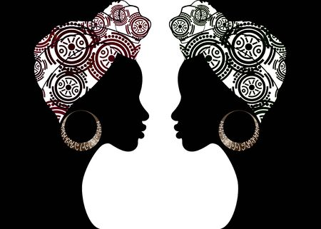 portrait beautiful Afro woman. Shenbolen Ankara Headwrap Women African Traditional Headtie Scarf Turban. Kente head wraps African tribal batik fabric design. Vector women diversity concept background