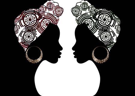 ritratto bella donna afro. Shenbolen Ankara Headwrap Women Africana tradizionale Headtie sciarpa turbante. La testa di Kente avvolge il design del tessuto batik tribale africano. Fondo di concetto di diversità delle donne di vettore