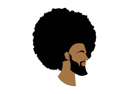 black man portrait with afro curly design, Barber shop and hairstyle. Healthy young black man with beard, mustache and sideburns. Isolated avatar of raper on white background