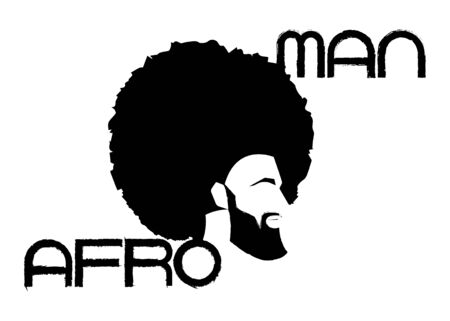 black man portrait with afro curly design, Barber shop and hairstyle. Healthy young black man with beard, mustache and sideburns. Logo icon Afro Man text isolated avatar on white background