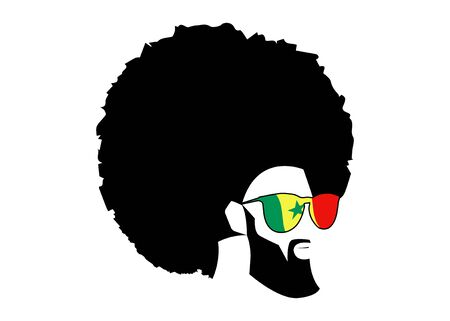 Retro man in a 1970s hairstyle. Frizzy, 70s with beard and sunglasses of Senegal flag. Funky cool African man with hairstyle and barber concept, vector illustration isolated or white background
