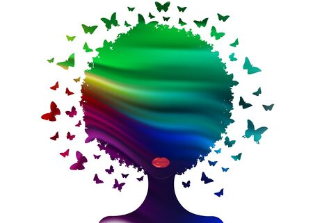 butterflies decorative colorful composition with silhouette portrait woman. Beauty center concept, hairstyle salon, Spa. Swarm of butterflies headdress in curly coiffed. Logo beautiful Afro woman Illustration