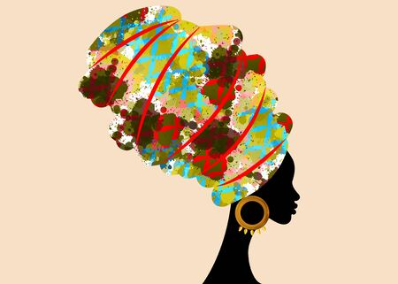 portrait beautiful African woman in traditional turban, Kente head wrap African, Traditional dashiki printing, black women vector silhouette isolated with traditional gold earrings, hairstyle concept Vector Illustration