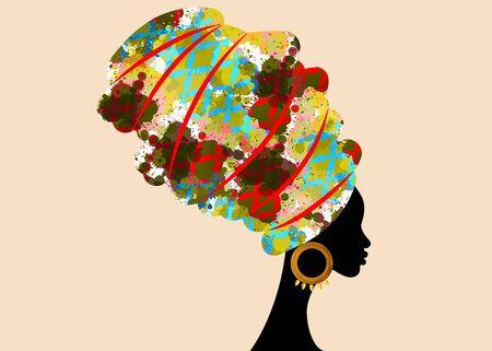 Ritratto di bella donna africana in turbante tradizionale, avvolgere la testa Kente africano, stampa tradizionale dashiki, silhouette di vettore di donne nere isolato con orecchini d'oro tradizionali, concetto di acconciatura Vettoriali