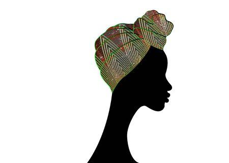 portrait beautiful Afro woman. Shenbolen Ankara Headwrap Women African Traditional Headtie Scarf Turban. Colorful Kente head wraps African fabric design. Vector icon logo isolated white background Illustration