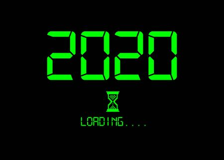 Happy new year 2020 with loading icon green neon digital style. Progress bar almost reaching new years eve. Green Vector flat design 2020 loading pixel hourglass cursor. Isolated or black background