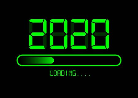 Happy new year 2020 with loading icon in flat green led neon digital time style. Progress bar almost reaching new years eve. Vector illustration with display 2020 loading isolated or black background
