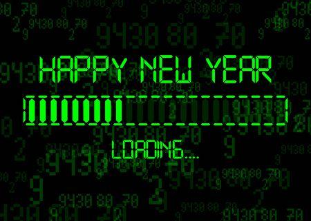 Felice anno nuovo con l'icona di caricamento Visualizza la barra di avanzamento che sta quasi raggiungendo la vigilia di capodanno 2020. Isolato su sfondo astratto della tecnologia del codice binario del computer Vettoriali